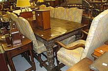 Good quality reproduction oak refectory style dining table in Jacobean style with a plank top above a carved arcaded frieze and turned supports with moulded stretchers together with a set of eight (seven plus one) upholstered dining chairs on shaped