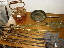 Miscellaneous brass and steel fire irons, a copper kettle and frying pan