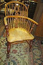19th Century yew wood and elm Windsor chair with pierced splat and spindle back, moulded panel seat and turned supports