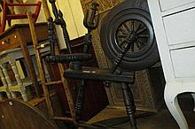 Antique oak spinning wheel together with a pair of bellows, a nest of two occasional tables, a triple section folding mirror and an oak barley twist fire kerb