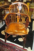 Harlequin set of six 19th Century ash, elm and fruitwood Windsor chairs, the hoop, stick and splat backs above carved panel seats on baluster turned supports with crinoline stretchers (slight damages) together with a good quality reproduction oak