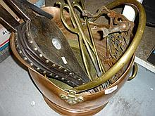 Copper coal scuttle, miscellaneous fire tools and other metal ware etc