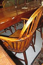 Set of six (four plus two) 19th Century elm and beech stickback Windsor chairs