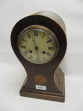 Edwardian mahogany and inlaid balloon shaped mantel clock with enamel dial, Roman numerals and two train movement