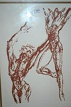 Tom Merrifield, two artist signed Limited Edition sepia prints of male dancers, gilt framed