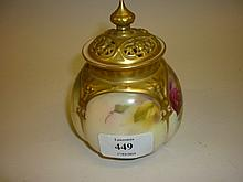 Royal Worcester pot pourri painted with roses, signed Spilsbury