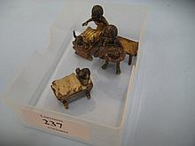 Three small Vienna cold painted bronze groups, mothers and babies, two marked Geschultz