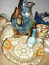 Bursley ware Charlotte Rhead tube line decorated dish with a Royal Worcester Sabina baluster vase (restored rim) and a Majolica type fish form vase