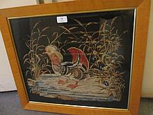 19th Century needlework picture, study of a mandarin duck, inscribed ' Anne Moodys Work, 1850 ', maple framed