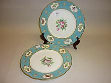 Pair of 19th Century Royal Worcester floral and butterfly decorated cabinet plates