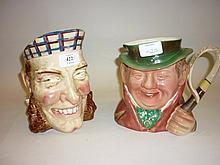 Sarreguemines Toby jug (glazing crazed) together with a Beswick Toby jug of ' Tony Weller ' No. 281