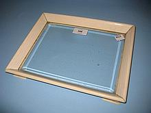 Early 20th Century rectangular marine ivory and glass desk tray