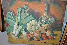 Mid 20th Century oil on canvas, still life study of vegetables, signed C. Prescott, 20ins x 24ins, unframed