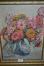 Walter Robinson Tollast, 20th Century oil on canvas, still life vase of flowers, unsigned, 15.5ins x 11ins, gilt framed