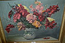 Walter Robinson Tollast, 20th Century oil on board, still life vase of flowers, 14.5ins x 18.5ins, framed
