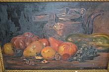 Oil on canvas, still life, fruit on a table top together with another similar, both gilt framed, a pair of gilt framed coloured prints, rural scenes and an oil on canvas, portrait after Rembrandt