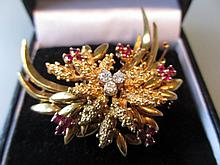 Mid 20th Century 18ct gold diamond and ruby set floral spray brooch