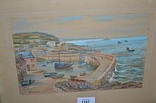 T.H. Victor, signed watercolour, ' The Mousehole ' together with a small watercolour of the Cornish coast, signed W. Sands (T.H. Victor)