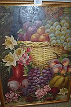 E. Chester, 19th Century oil, still life with fruit in a wicker basket, signed verso, 25.5ins x 18ins
