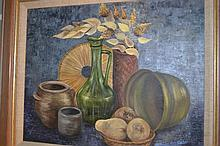 M. Saco-Del-Corte, 20th Century oil on board, still life, signed, 15ins x 19ins, framed