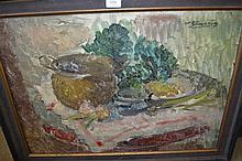 Oil on canvas, still life with vegetables and pot on a table, indistinctly signed, together with an unframed oil, still life with flowers, signed R. Hulstaert