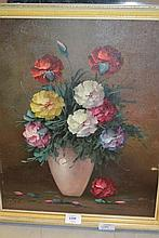 Two oils on canvas board, still life, vases of flowers, 17ins x 14ins each