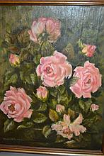 Elizabeth Cameron, two 20th Century, oils on canvas, still life roses and landscape, gilt framed