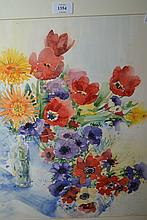 Watercolour, still life study of flowers, signed Wilson, '97, a watercolour river landscape, signed P.M. Pearce, watercolour, still life, roses and a watercolour, dahlias in a vase, signed Gibson