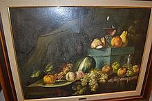 Large 20th Century oil on canvas, still life of fruit on a table top, signed I. Diego, 23ins x 31ins