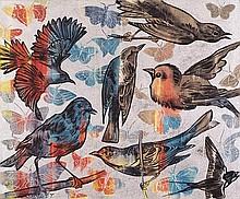 DAVID BROMLEY born 1960 Birds synthetic polymer