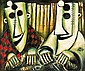 PRO HART, (1928-2006), Masks, oil on canvas signed