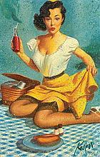 DENNIS ROPAR born 1971 Pin Up Girl #2 oil on