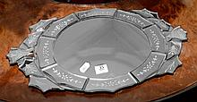 An Art Deco style etched mirror glass tray