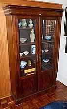 Antique French inlayed bookcase with key