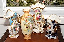 Collection of porcelain decorative vases.