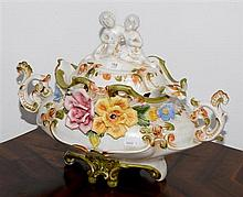 A Capodimonte Lidded Soup Tureen and ladel.