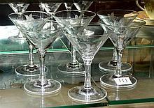Six Art Deco Etched Martini Glasses