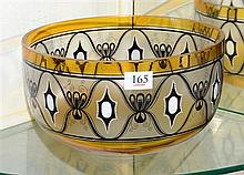 An Art Deco Bohemian glass bowl dramatically painted in stylised geometric enamels