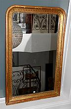 Gilt Framed Mirror With Etched Decoration 132 x 87cm