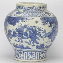 Chia Ching Marked Blue & White Eight Immortal Jar