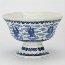 Thieu Tri Marked Blue & White Bowl with Eight Immortal Figures