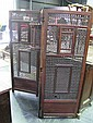 Fine Indian Carved & Finely Turned Fruitwood 3 Panel Screen with Inset Panel, Bay & 2 Windows