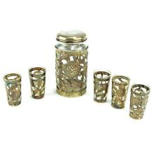 Mexican Sterling Silver Six Piece Drinks Suite