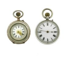 TWO ANTIQUE SWISS SILVER OPEN FACE LADY'S POCKET WATCHES; each in 800 silver with a white dial and Roman numerals, stem wind with pu...