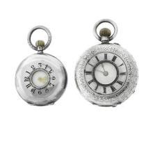 TWO ANTIQUE SWISS SILVER HALF HUNTER LADY'S POCKET WATCHES; each in 935 silver with a white dial, Roman numerals, pull and push piec...