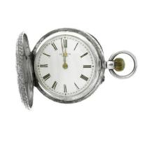 AN ANTIQUE SWISS SILVER FULL HUNTER LADY'S POCKET WATCH; with white dial, Roman numerals, stem wind with push piece at 4 o'clock on...