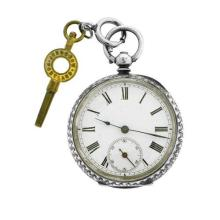 AN ANTIQUE SWISS SILVER OPEN FACE LADY'S POCKET WATCH; white dial, Roman numerals, subsidiary seconds, key wind and set in a finely...
