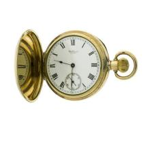 A WALTHAM ROLLED GOLD FULL HUNTER POCKET WATCH; white enamel dial, Roman numerals, subsidiary seconds on a stem wind and set 7 jewel...
