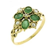 A VICTORIAN STYLE PEARL AND EMERALD RING; set in 9ct gold with a surround of 4 emeralds and small pearls, size O.