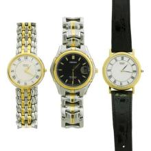 THREE GENT'S SEIKO QUARTZ WATCHES; one with white dial, Roman Numberals and black leather band, one with mother of pearl and guilloc...